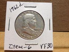 Buy 1962 D Franklin Half Dollar item 6 VF