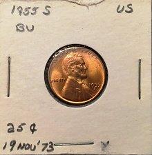 Buy 1955 S Beautiful BU Red Wheat Penny