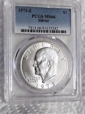 Buy 1973S Silver MS-66 Ike Dollar.....A brilliant white proof .....PCGS Certified