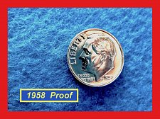 Buy 1958  SILVER PROOF Dime  ☆ DEEP CAMEO   ☆ (#3736)a
