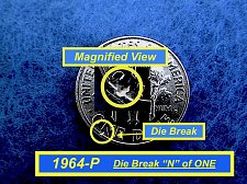 Buy 1964-P  ☆  Die Break  ERROR ☆  Uncirculated  ☆  (#3732)a