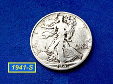Buy 1941-S  Liberty Walking Half Dollars ☆ ☆ ☆  (#1012)b