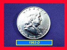 "Buy 1963-D Franklin ☆ ""XF-AU""  ☆    (#1858)a"