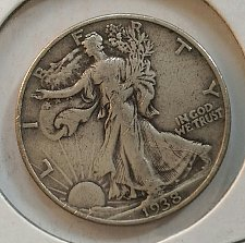 Buy 1- 1938-P WALKING LIBERTY HALF DOLLAR. CIRCULATED. 1938-P-1