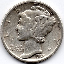 Buy 1937 P (Philadelphia) 90% Silver Mercury Dime Bullion Winged Liberty Head