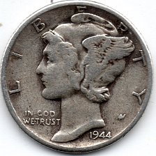 Buy 1944 P (Philadelphia) 90% Silver Mercury Dime Bullion Winged Liberty Head