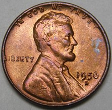 1956-D ONE UNC LINCOLN WHEAT CENT #10
