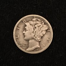 Buy 1937 P Mercury Dime - pretty good quality but not officially graded