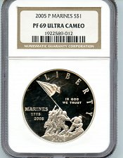Buy 2005 US Marines PF69 Ultra Cameo Coin