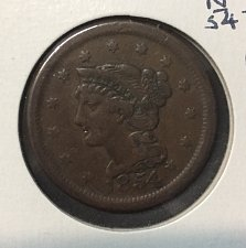 Buy 1854 Large Cent N-12 Fine