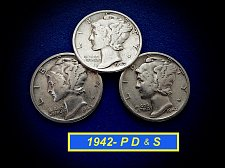 """Buy 1942 YEAR SET ☆ 'P' 'D' & 'S' Coins ☆ """"Circulated"""""""" ☆  (#3977)a"""