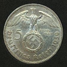 Buy 1939 B 5 Reichsmark - Germany Third Reich .900 Silver