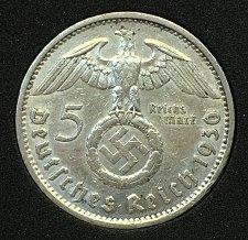 Buy 1936 A 5 Reichsmark - Germany Third Reich .900 Silver