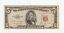 Buy 1953 $5 Five Dollar Red Seal Note Bill US Currency Banknote