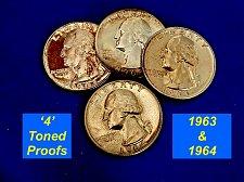 Buy Four PROOF Quarters ☆  Cameo Toned ☆ (#2156)a