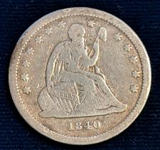 Buy 1840 WITH DRAPERY VG SEATED LIBERTY QUARTER.