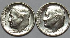 1968 P/&D Roosevelt Dimes in BU condition