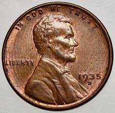 """1935-D Lincoln Wheat 1c/""""LOW MINTAGE/""""GOLDEN/""""~GEM BU//RED from OBW roll.FREE S/&H"""