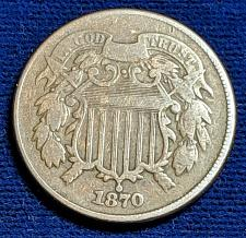 Buy 1870 VERY GOOD TWO CENT PIECE