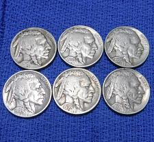 Buy MIXED LOT OF (6) DIFFERENT BUFFALO NICKELS