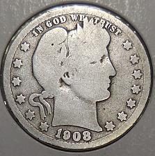 1908 O 25c Barber Silver Quarter US Coin Average Circulated
