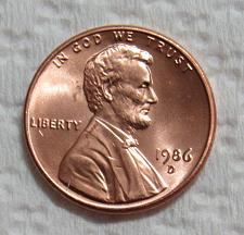 UNCIRCULATED 1986 D USA Small Cent