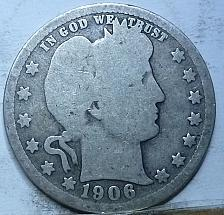 Buy 1906-D FULL GOOD BARBER QUARTER (706)