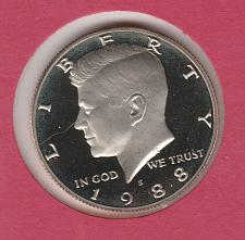 1988-S KENNEDY HALF DOLLAR FROM US PROOF SET A-1-19 NOT FROM A ROLL