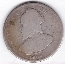 Buy PANAMA 1904 25 CENTESIMOS - .9000 silver - similar size to Half Dollar