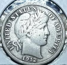 1912 10c Barber Silver Dime Average Circulated
