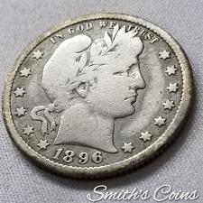 1896 O Barber head quarter semi-key date #J2262 90/% Silver US  coin.