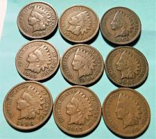 Buy MIXED LOT OF (9) DIFFERENT INDIAN HEAD CENTS