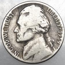 1939-S Jefferson Nickel   vg-f   free shipping