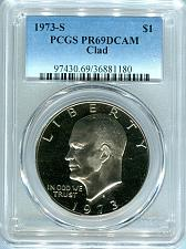 1973 S Clad Proof Eisenhower Dollar Ike Flat Rate Shipping With Capsules
