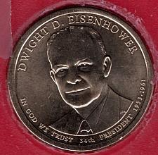 2015 P Dwight D Eisenhower Presidential Dollar Position B in Mint Set Wrapper