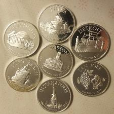 Buy ONE (1) Franklin Mint Great American Cities Sterling Silver Proof Medal