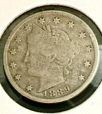 1889 Liberty V Nickel in Low Grade  A Great Filler Coin DUTCH AUCTION