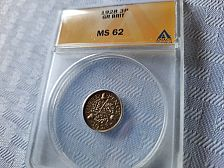 Buy 1928 Great Britain 3 Pence Anacs MS 62  $24.95 with free shipping