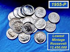 "Buy 1955-P Roosevelt Dime   ⭐️  Gem ""BU"" High Grade   ⭐️   (3750)"