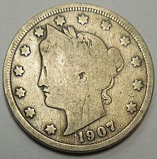 1907  US  Liberty Head V nickel in  circulated  condition    Free Shipping