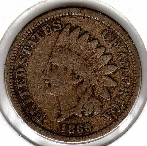 1860 P Indian Head Cent Small Cents