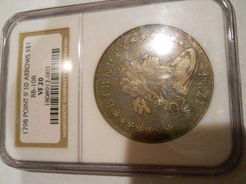 1798 P Drape bust dollar:  Pointed 9-10 Arrows