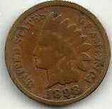 US Indian Head Cent Penny 1898