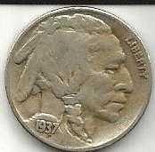 US 1937 S  Buffalo Nickel