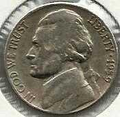 US 1959 D Jefferson Nickel VG