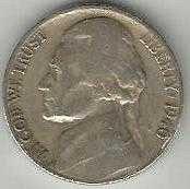 US 1940 S Jefferson Nickel VG
