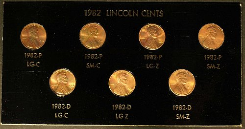Special Sale -1982 Lincoln Cent- 7 coin set
