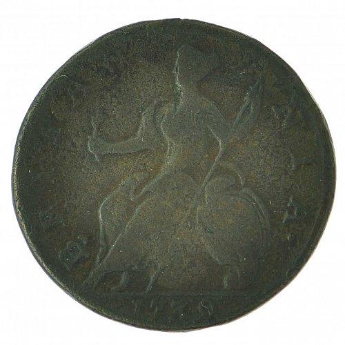 1730 George II Half Penny - S