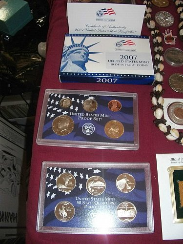 2007 white box 14 coin with blue box 10 coin united states proof set