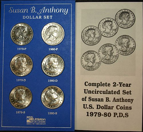 Complete 1979- 1980- Year Uncirculated set of Susan B. Anthony U.S. Dollar coins